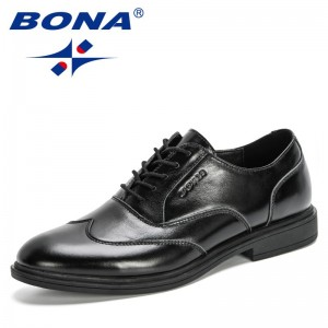 BONA 2020 New Designers Formal Shoes Men Wedding Shoes Genuine Leather Round Toe Mens Dress Shoes Office Shoes Sapato Masculino