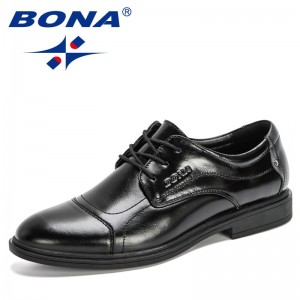 BONA 2020 New Designers Genuine Lether Men Dress Shoes Round Toe Shoes For Man Lace Up Luxury Formal Shoes Mansculino Comfort