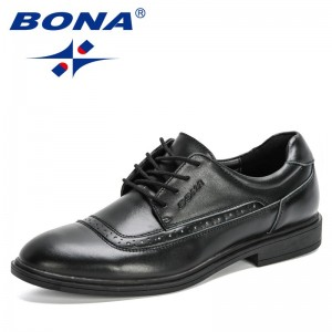 BONA 2020 New Designers Genuine Leather Shoes Men Dress Shoes Classic Round Toe Man Formal Footwear Office Shoes Masculino Comfy