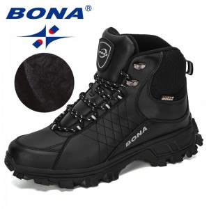 BONA New Designers Men Ankle Hiking Boots, Plus Size Fashion Classic Trekking Footwear Outdoor Plush Winter Boots Man Comfy
