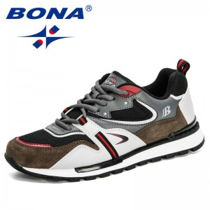 BONA 2020 New Designers Action Leather Sport Shoes Man Sneakers Running Shoes Men Tennis Male Walking Footwear Trendy Fitness