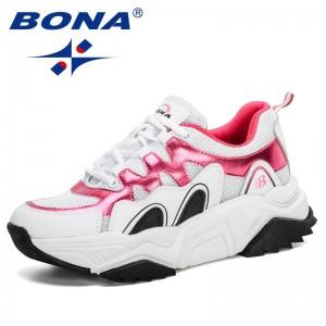 BONA 2020 New Designers Chunky Sneakers Fashion Women Platform Shoes Vulcanize Shoes Woman Running Shoes Walking Footwear Female