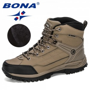 BONA 2020 New Arrival Men Winter Shoes Action Leather Working Boots Man High Top Plush Snow Boots Masculino Anti-Slip ShoesShoes