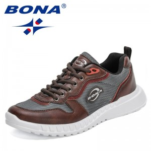 BONA 2021 New Designers Casual Shoes Men Popular Sneakers Trendy Lace-Up Brand Luxury Walking Shoes Man Leisure Footwear Comfy