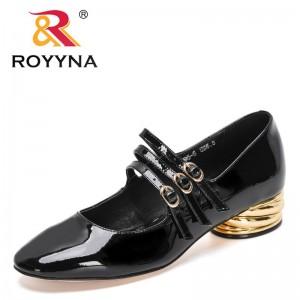 ROYYNA 2021 New Designers Classics Pumps Women High Quality Handmade Sheepskin Round Toe Metal Heels Office Shallow Shoes Ladies