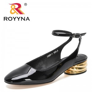 ROYYNA 2021 New Designers Genuine Leather Sandals Women Metal Heels Slippers Female Fashion Sandals Casual Slippers Feminimo