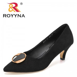 ROYYNA 2021 New Designers Genuine Leather Classic Fashion Pointed Toe High Heels Pumps Women Wedding Shoes Ladies Office Shoes