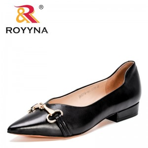 ROYYNA 2021 New Designers Genuine Leather Loafers Women Pointed Toe Flats Shoes Ladies Zapatillas Mujer Sapato Feminino Comfy
