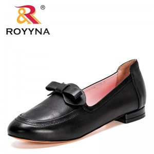 ROYYNA 2021 New Designers Spring Autumn Genuine Leather Shallow Women Shoes Round Toe Fashion Female Pumps Bowknot Dress Shoes