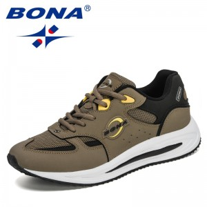BONA 2021 New Designers Action Leather Men Running Shoes Air Mesh Sneakers Man Non Slip Footwear Breathable Jogging Shoes Male