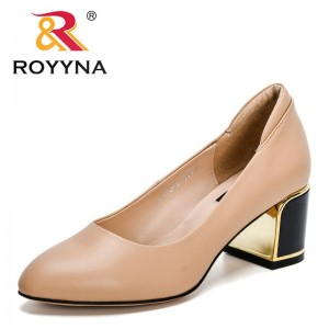 ROYYNA 2021 New Designers Genuine Leather Sexy High Heels Pumps Women Thick Metal Heels Pointed Toe Shoes Feminimo Zapatos Mujer