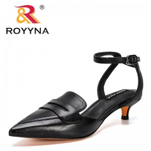 ROYYNA 2021 New Designers Genuine Leather Sandals Women Lower Heel Back Strap Summer Casual Shoes Ladies Pointed Toe Dress Shoes