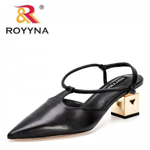 ROYYNA 2021 New Designers Genuine Leather Brand Woman Pumps Metal Heels Party Shoe Pointed Toe Slip On Office Ladie Dress Shoes
