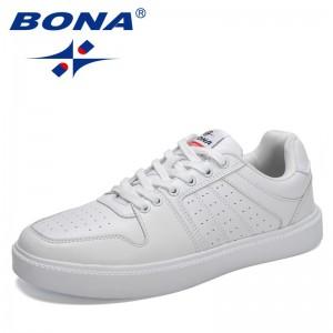 BONA 2021 New Designers Casual Shoes Male Flats Fashion Skateboarding Sneakers Men Comfortable Luxury Walking Jogging Footwear