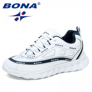 BONA 2021 New Designers Action Leather Casual Sneakers Comfortable Man Shoes Outdoor Walking Shoes Mansculino Zapatos De Hombre