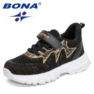 BONA 2021 New Designers Running Sneakers Kids Casual Breathable Children's Fashion Shoes Platform Light Walking Shoes Child