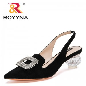 ROYYNA 2021 New Designers Genuine Leather Crystal Mules Sexy High Heel Shoes Women Fashion Pointed Toe Sandals Slippers Ladies