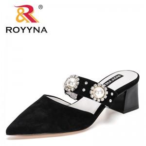 ROYYNA 2021 New Designers Slipper Fashion Mules Women Genuine Leather Pointed Toe Slip On Flip Flops Summer Sandals Feminimo