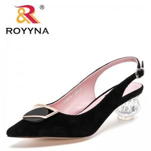 ROYYNA 2021 New Designers Classics Woman Mules Slippers Sandalias Glass Heels de verano para mujer zapatos de mujer calzado