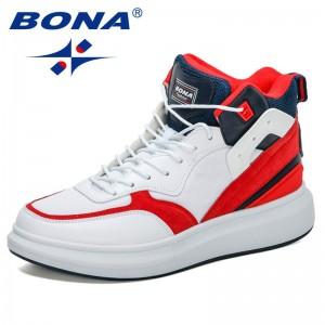 BONA 2021 New Designers High Top Sneakers Men Skateboard Shoes Seasons Comfortable Shoes Man Platform Footwear Zapatos Hombre