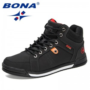 BONA 2021 New Designers Action Leather Skateboarding Shoes Men Flat High Top Male Sneakers Shoes Casual Shoes Mansculino Trendy