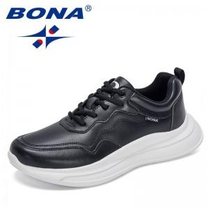 BONA 2021 New Designers Classic Board Shoes Men Fashion Sneakers Trend Flat Shoes Student Soft Bottom Shoes Walking Footwear Man