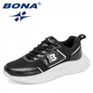 BONA 2021 New Designers Mesh Brand Casual Sneakers Men Big Size Shoes Black White Man Luxury Brand Leisure Footwear Mansculino