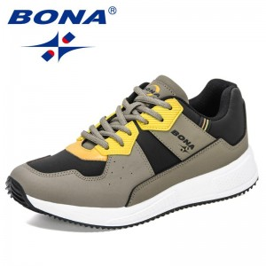 BONA 2021 New Designers Action Leather Men's Casual Sneakers Popular Flats Soft Walking Shoes Man British Style Shoes Mansculino