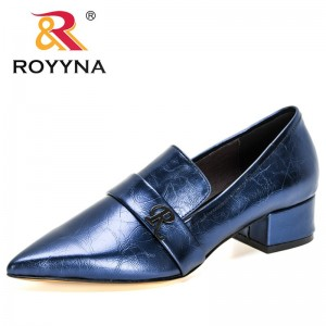 ROYYNA 2021 New Designers Simple Fashion Buckle Womens Pumps Square Heels Chunky Heels Career Work Shoes Ladies Dress Shoes Soft