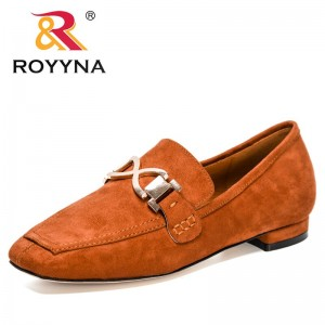 ROYYNA 2021 New Designers Flat Shoes Big Size Fashion Flock Pumps Women Casual Shoes Ladies Slip-on Low Heels Office Shoes Woman