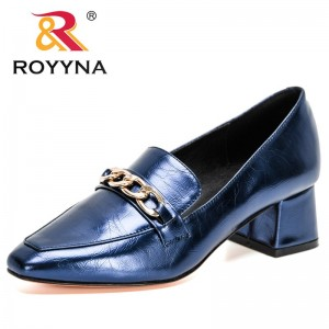 ROYYNA 2021 New Designers Metal Buckle Pumps Women Shallow Mouth Shoes Ladies Fashion Office Work Wedding Party Shoes Feminimo
