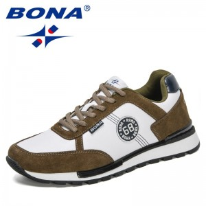 BONA 2021 New Designers Comfortable Casual Men Shoes Outdoor Trendy Flats Shoes Man  Outdoor Leisure Sneakers Mansculino Comfy