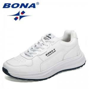 BONA 2021 New Designers Fashion Casual Shoes Men Platform Leisure Sneakers Man Lace-up Breathable Walking Footwear Mansculinog