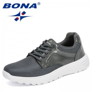 BONA 2021 New Designers Popular Casual Shoes Lace Up Men Lightweight Comfortable Breathable Walking Sneakers Man Leisure Shoes