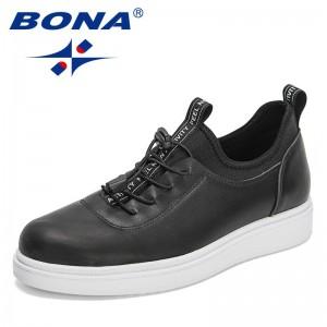 BONA 2021 New Designers Popular Sneakers Men Vulcanized Shoes Casual Fashion Walking Shoes Man Platform Light Shoes Mansculino