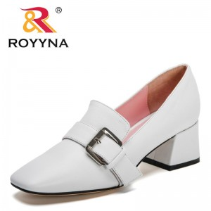 ROYYNA 2021 New Designers Thick High Heels Shoes Women Slip On Solid Color Heels Pumps Ladies Daily Dress Shoes Zapatillas Mujer