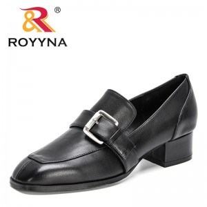 ROYYNA 2021 New Designers Genuine Leather High Heels Shoes Women Casual Shallow Square Toe Thick Heels Office Dress Shoes Ladies