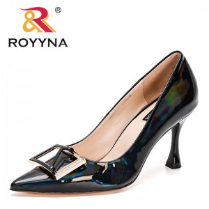 ROYYNA 2021 New Designers Genuine Patent Leather Solid Thin Heel Ladies Shoes Business Pointed Toe Pumps Women Office Dress Shoe