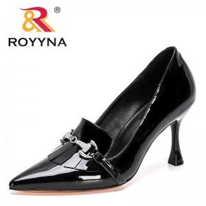 ROYYNA 2021 New Designers Genuine Leather Pumps Women Fashion High Heels Shoes Black Ladies Wedding Shoes Stiletto Feminimo