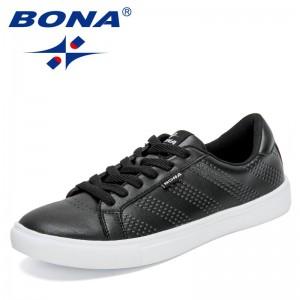 BONA 2021 New Designers Popular Skateboarding Shoes Men Casual Sneakers Flat Male Walking Shoes Soft Outdoor Jogging Footwear