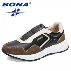 BONA 2021 New Designers Casual Sneakers Shoes Men Action Leather Walking Shoes Man Comfortable Breathable Footwear Mansculino