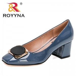 ROYYNA 2021 New Designers Patent Leather Pumps Women High Heels Square Toe Sexy Shoes Woman Wedding Shoes Ladies Office Shoes