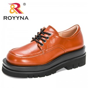 ROYYNA 2021 New Designers Oxford Shoes Women Autumn British Style Shoes Woman Lace Up Round Toe Platform Working Shoes Feminimo