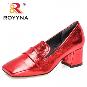 ROYYNA 2021 New Designers Classics Square Toe Chunky Heel Women Pumps Sexy High Heels Work Shoes Ladies Wedding Shoes Feminimo