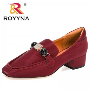 ROYYNA 2021 Chain Bead Pumps Women Wedding casual shoes Ladies Square Toe Parties Dress Slip-on Shallow Square Heels Shoes Woman
