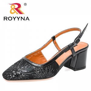 ROYYNA 2021 New Designers Sexy High Heels Closed Toe Shoes Women Slip Fashionable Summer Shoes Ladies Trendy Sandals Feminimo