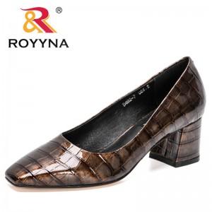 ROYYNA 2021 New Designers Block Heels Pumps Women Shallow Med Heel Formal Dress Shoes Elegant Office Shoes Ladies Wedding Shoes