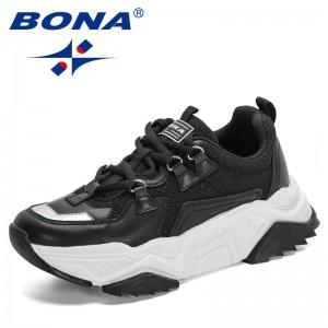 BONA 2021 New Designers Chunky Sneakers Women Microfiber Mesh Retro Casual Shoes Ladies Platform Lace-Up Leisure Footwear Trendy