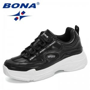 BONA 2021 New Designers Casual Shoes Platform Fashion Sneakers Women Non-slip Work Shoes Lady Leisure Footwear Zapatos De Mujer