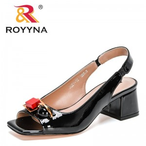ROYYNA 2021 New Designers Genuine Cow Leather Summer Women Sandals High Heel Height Buckle Strap Metal Decration Shoes Feminimo